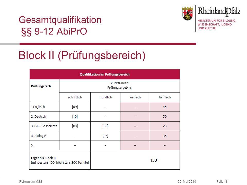 Folie 18Reform der MSS20. Mai 2010 Gesamtqualifikation §§ 9-12 AbiPrO Block II (Prüfungsbereich)