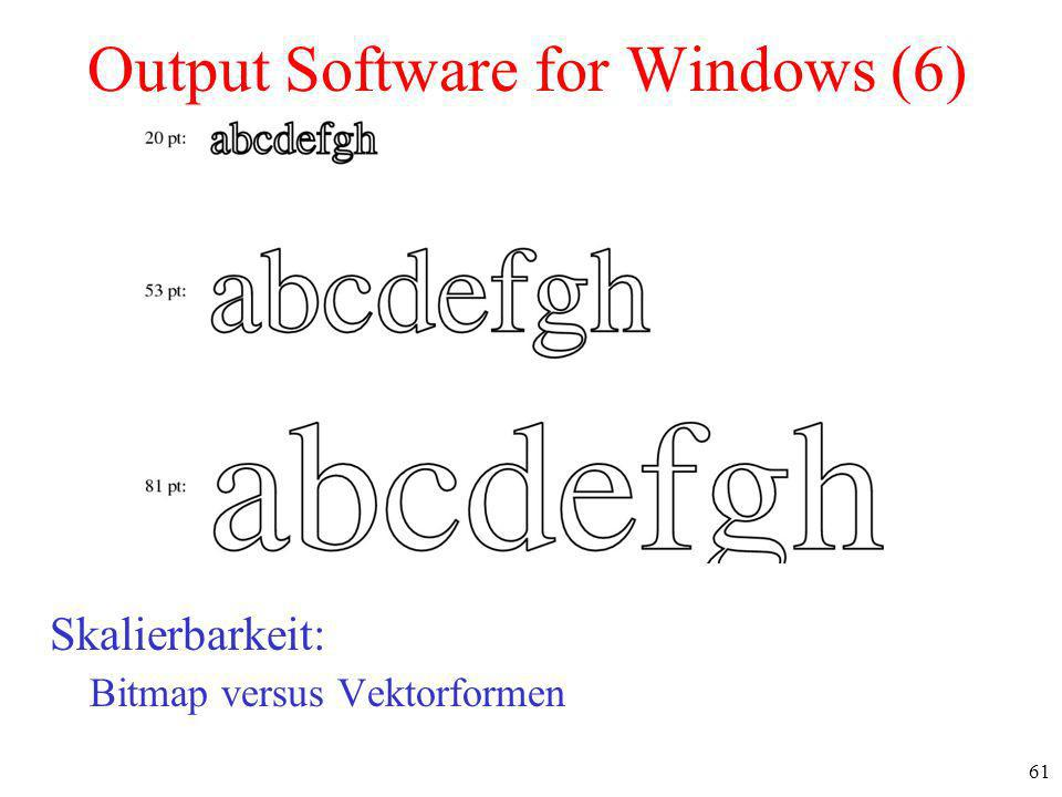 61 Output Software for Windows (6) Skalierbarkeit: Bitmap versus Vektorformen