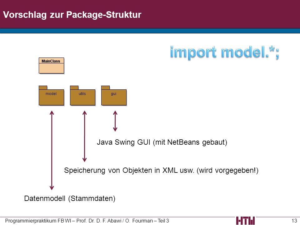 Vorschlag zur Package-Struktur Programmierpraktikum FB WI – Prof. Dr. D. F. Abawi / O. Fourman – Teil 313 Datenmodell (Stammdaten) Speicherung von Obj