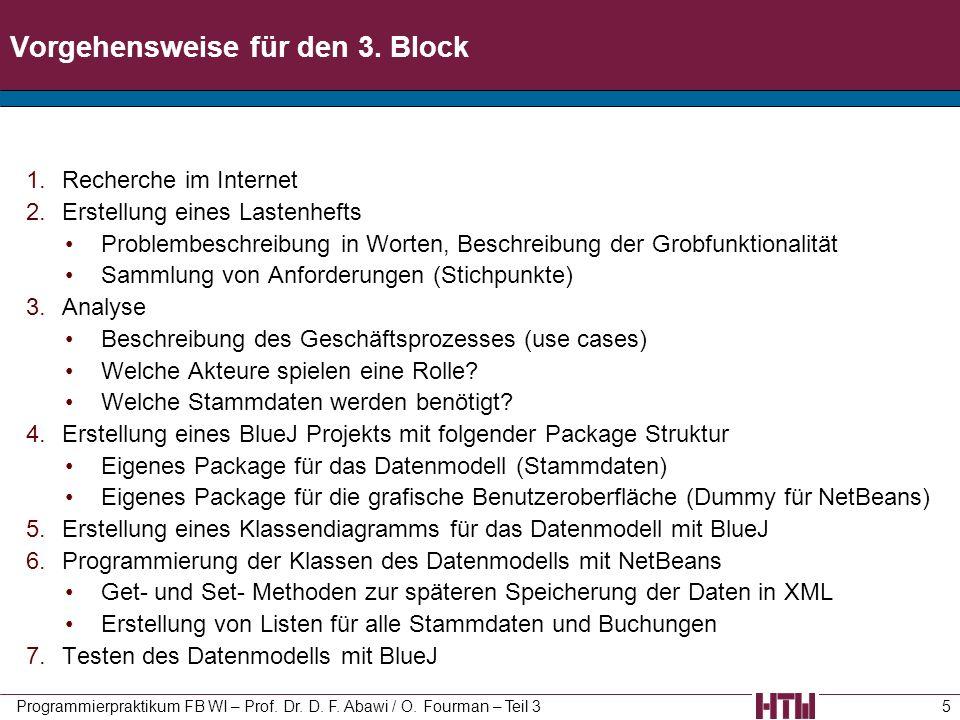Vorgehensweise für den 3. Block 1.Recherche im Internet 2.Erstellung eines Lastenhefts Problembeschreibung in Worten, Beschreibung der Grobfunktionali