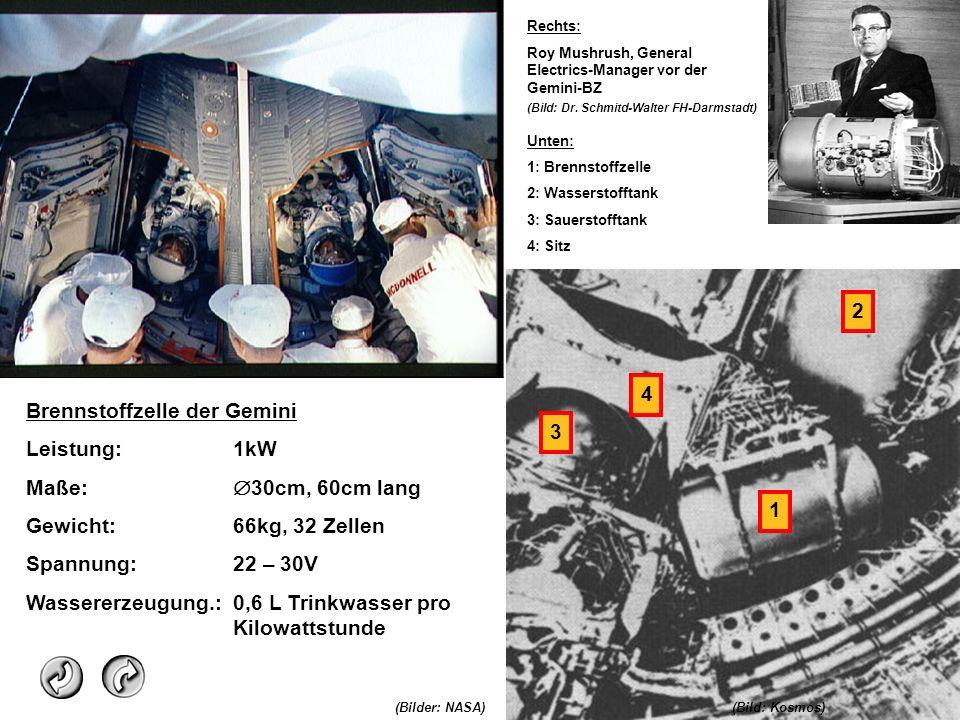 Brennstoffzelle der Gemini Leistung:1kW Maße: 30cm, 60cm lang Gewicht:66kg, 32 Zellen Spannung:22 – 30V Wassererzeugung.:0,6 L Trinkwasser pro Kilowat