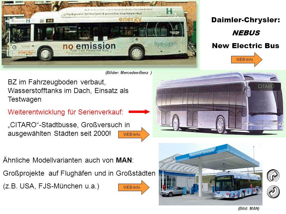 Daimler-Chrysler: NEBUS New Electric Bus Ähnliche Modellvarianten auch von MAN: Großprojekte auf Flughäfen und in Großstädten (z.B. USA, FJS-München u