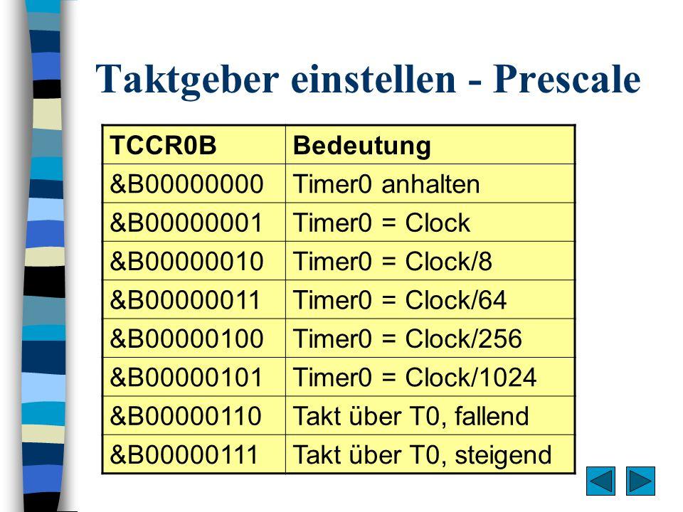 Taktgeber einstellen - Prescale TCCR0BBedeutung &B00000000Timer0 anhalten &B00000001Timer0 = Clock &B00000010Timer0 = Clock/8 &B00000011Timer0 = Clock