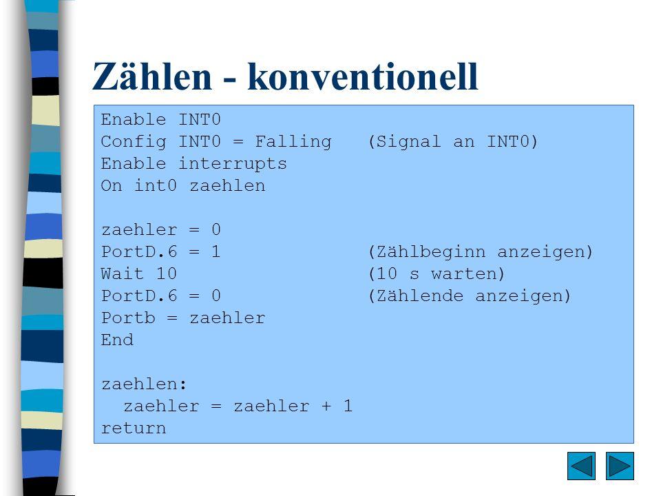 Zählen - konventionell Enable INT0 Config INT0 = Falling(Signal an INT0) Enable interrupts On int0 zaehlen zaehler = 0 PortD.6 = 1(Zählbeginn anzeigen