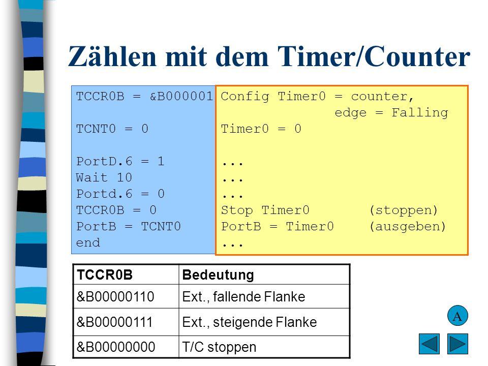 Zählen mit dem Timer/Counter TCCR0B = &B00000110 (externer Takt über T0, fallende Flanke, starten) TCNT0 = 0(Zähler des T/C auf 0) PortD.6 = 1(Zählbeg