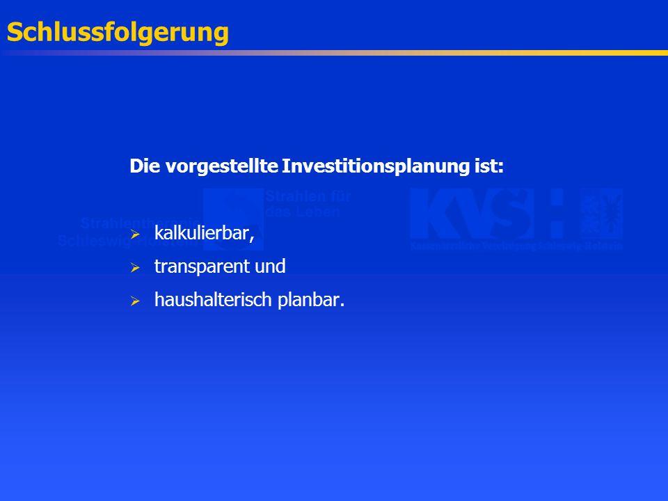 Schlussfolgerung Die vorgestellte Investitionsplanung ist: kalkulierbar, transparent und haushalterisch planbar.