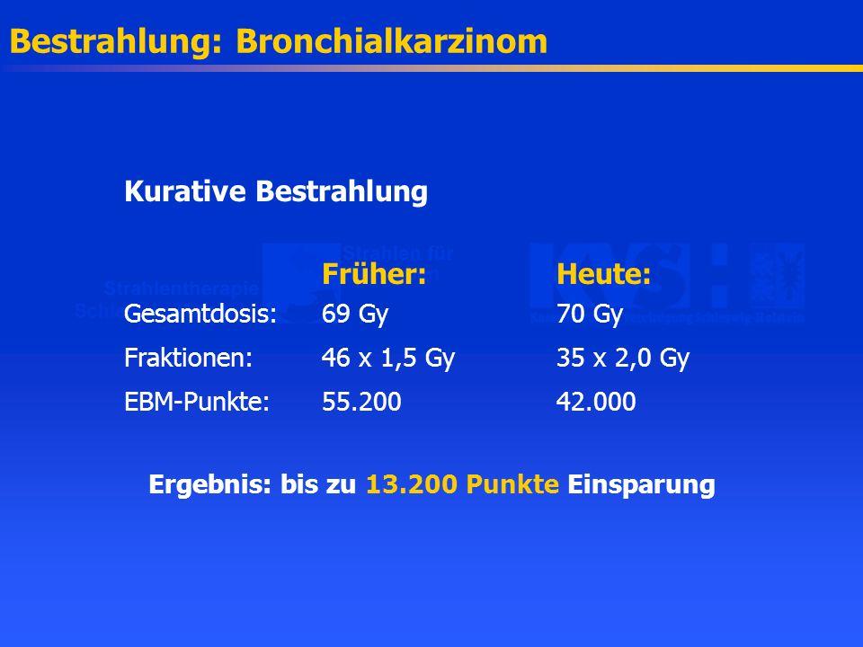 Bestrahlung: Bronchialkarzinom Kurative Bestrahlung Früher:Heute: Gesamtdosis: 69 Gy70 Gy Fraktionen:46 x 1,5 Gy35 x 2,0 Gy EBM-Punkte:55.20042.000 Er