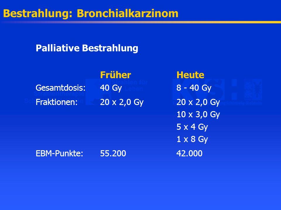 Bestrahlung: Bronchialkarzinom Palliative Bestrahlung FrüherHeute Gesamtdosis: 40 Gy8 - 40 Gy Fraktionen:20 x 2,0 Gy20 x 2,0 Gy 10 x 3,0 Gy 5 x 4 Gy 1