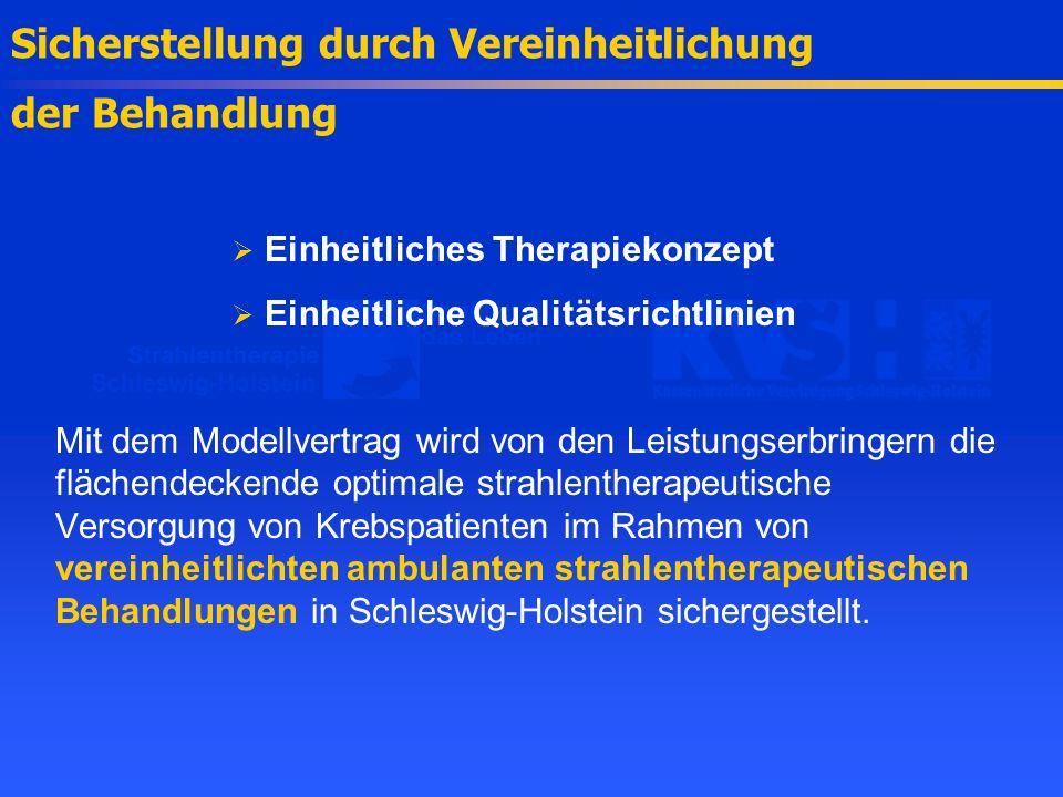 Sicherstellung durch Vereinheitlichung der Behandlung Einheitliches Therapiekonzept Einheitliche Qualitätsrichtlinien Mit dem Modellvertrag wird von d