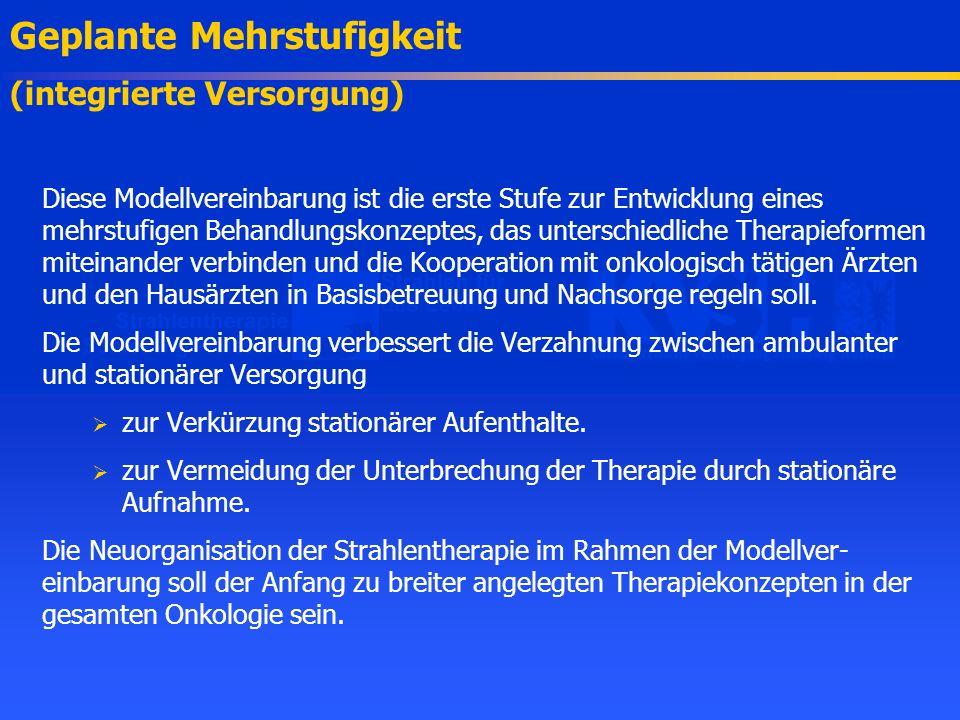 Diese Modellvereinbarung ist die erste Stufe zur Entwicklung eines mehrstufigen Behandlungskonzeptes, das unterschiedliche Therapieformen miteinander