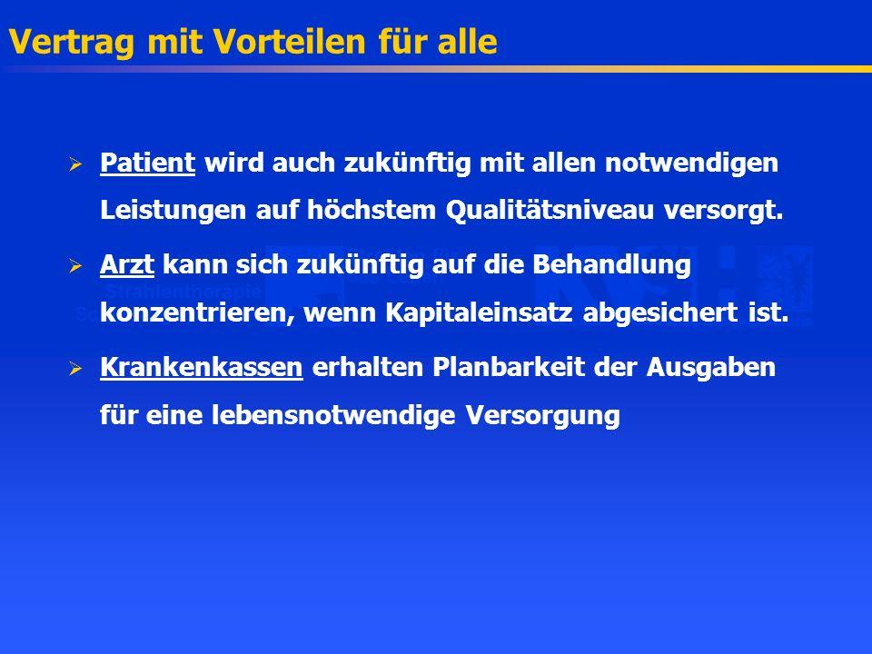 Vertrag mit Vorteilen für alle Patient wird auch zukünftig mit allen notwendigen Leistungen auf höchstem Qualitätsniveau versorgt. Arzt kann sich zukü