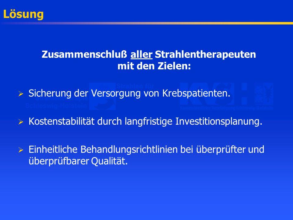 Zukunftsorientierte Versorgung Leitlinien, Therapiekonzepte und Qualitätssicherung in der Strahlentherapie Eine gemeinsame Veranstaltung von Strahlentherapie Schleswig-Holstein e.V.