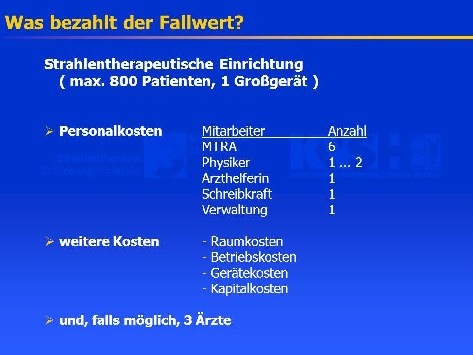 Was bezahlt der Fallwert? Strahlentherapeutische Einrichtung ( max. 800 Patienten, 1 Großgerät ) Personalkosten MitarbeiterAnzahl MTRA6 Physiker1... 2