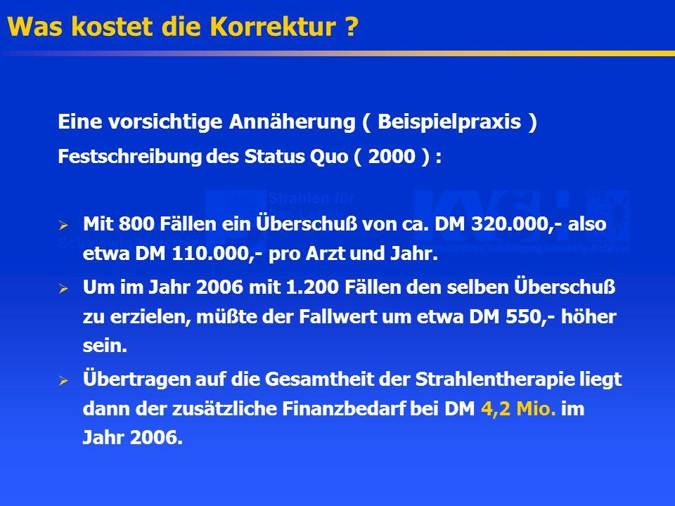 Was kostet die Korrektur ? Eine vorsichtige Annäherung ( Beispielpraxis ) Festschreibung des Status Quo ( 2000 ) : Mit 800 Fällen ein Überschuß von ca