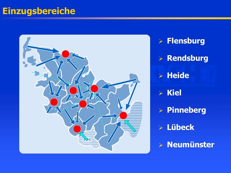 Beschleuniger / Einwohner EinzugsbereichEinwohnerGeräte 2002Plan (1996) Flensburg294.0001,51,2 - 1,8 Rendsburg267.10011,3 - 1,9 Heide271.20011,0 - 1,4 Kiel545.9005(-2 *) 1,3 - 1,9 Pinneberg374.90011,0 - 1,4 Lübeck656.10032,8 - 4,2 Neumünster265.20011,1 - 1,4 2.700.30013,5(-2 *) 9,7 - 14,1 *) Stehen der allgemeinen Versorgung nicht zur Verfügung.