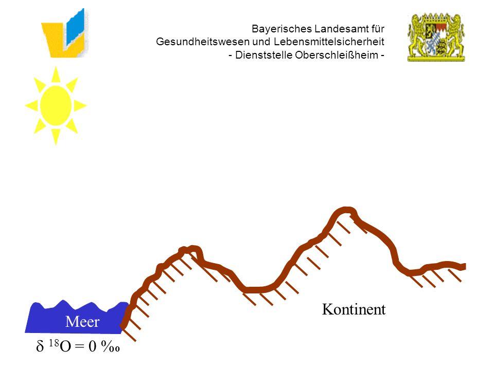 Bayerisches Landesamt für Gesundheitswesen und Lebensmittelsicherheit - Dienststelle Oberschleißheim - Regen - 5 % o Dunst - 17 % o Meer 18 O = 0 % o Kontinent