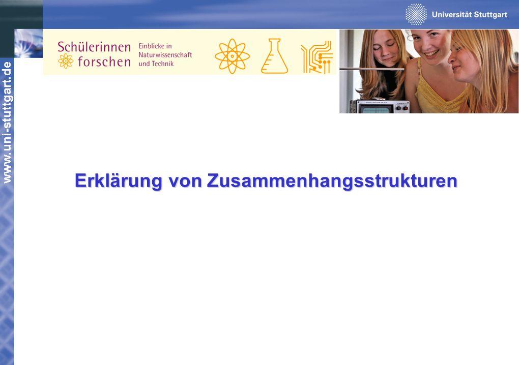 www.uni-stuttgart.de Erklärung von Zusammenhangsstrukturen