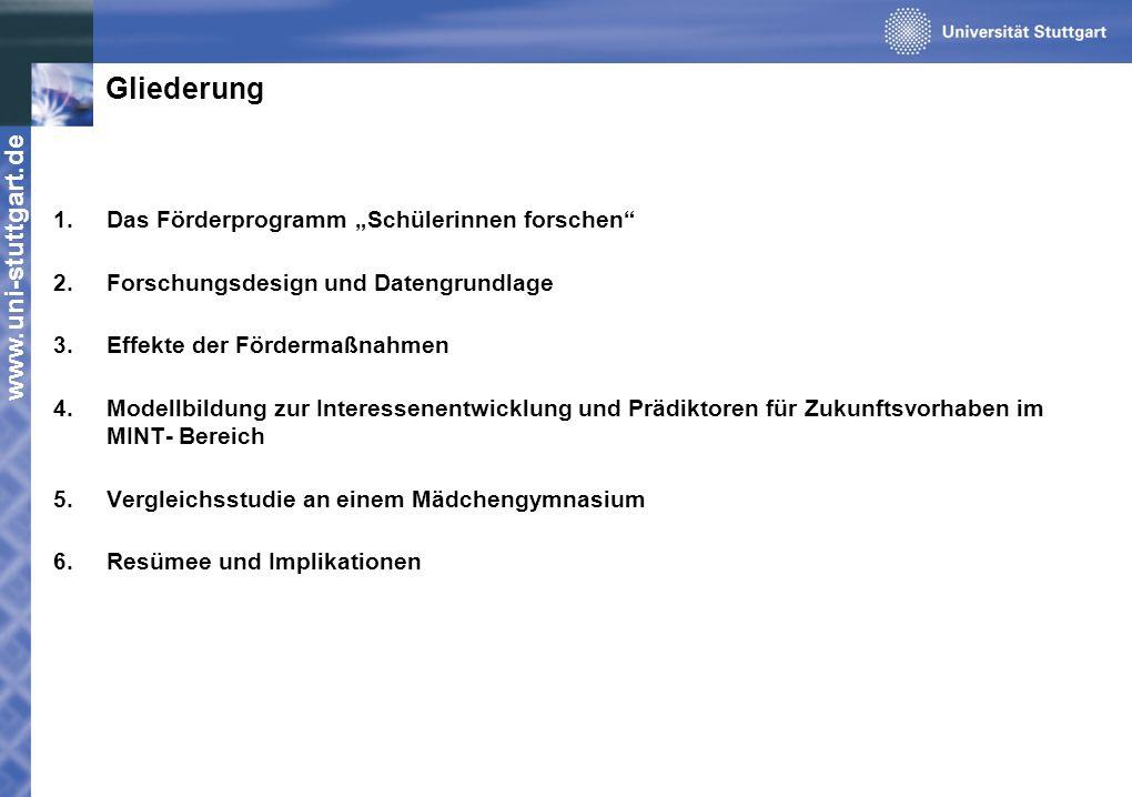 www.uni-stuttgart.de Gliederung 1.Das Förderprogramm Schülerinnen forschen 2.Forschungsdesign und Datengrundlage 3.Effekte der Fördermaßnahmen 4.Model