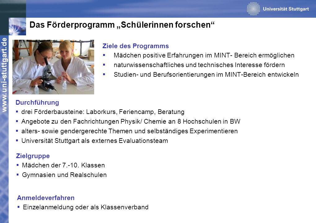 www.uni-stuttgart.de Das Förderprogramm Schülerinnen forschen Zielgruppe Mädchen der 7.-10. Klassen Gymnasien und Realschulen Durchführung drei Förder