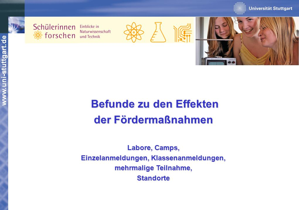 www.uni-stuttgart.de Befunde zu den Effekten Befunde zu den Effekten der Fördermaßnahmen Labore, Camps, Einzelanmeldungen, Klassenanmeldungen, mehrmal
