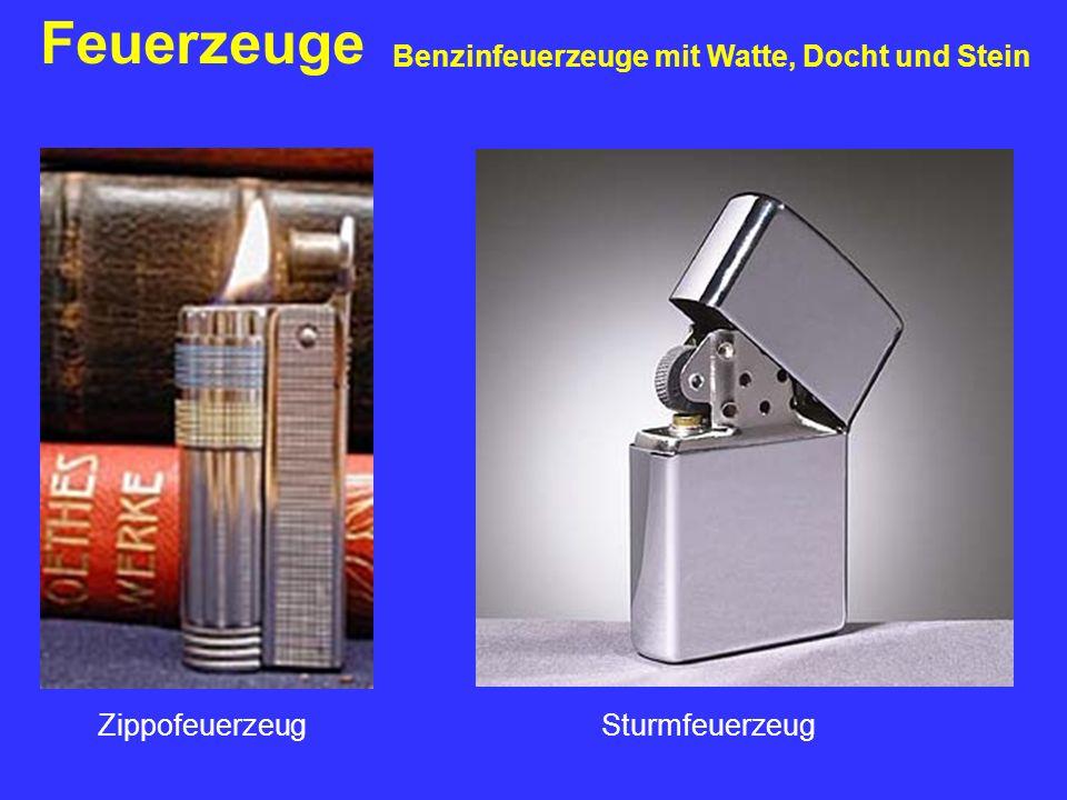 Feuerzeuge Benzinfeuerzeuge mit Watte, Docht und Stein ZippofeuerzeugSturmfeuerzeug