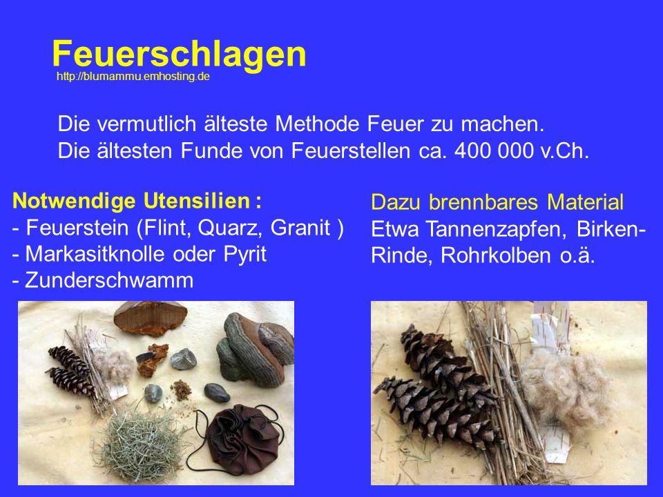 Feuerschlagen Die vermutlich älteste Methode Feuer zu machen. Die ältesten Funde von Feuerstellen ca. 400 000 v.Ch. Notwendige Utensilien : - Feuerste