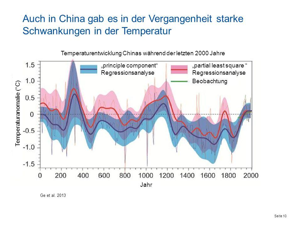 Seite 10 Ge et al. 2013 Auch in China gab es in der Vergangenheit starke Schwankungen in der Temperatur Temperaturentwicklung Chinas während der letzt