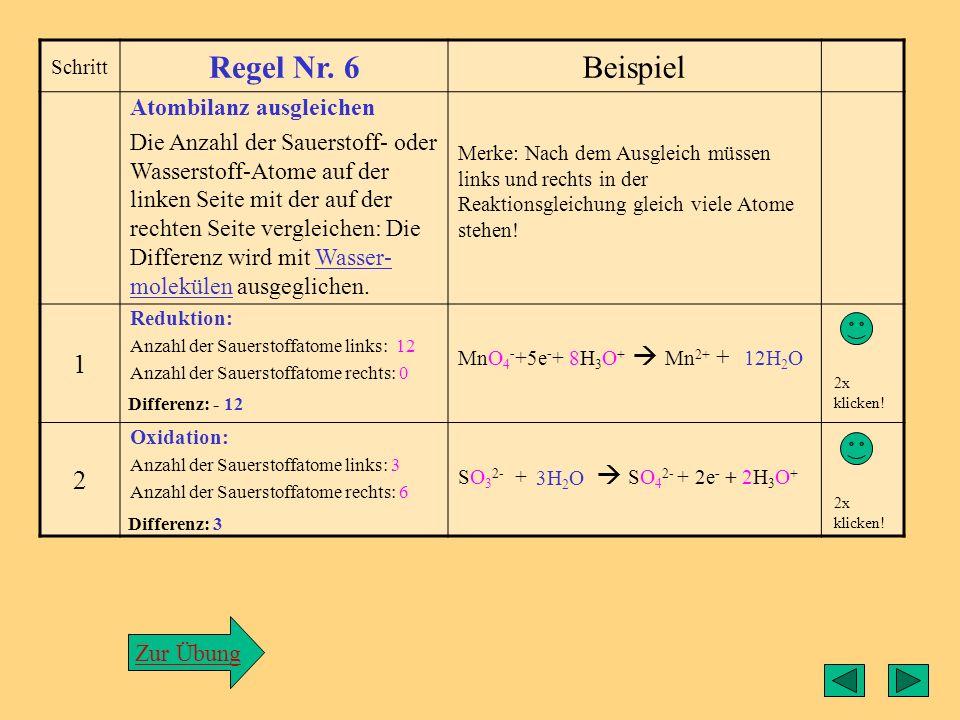 Regel5 Schritt Regel Nr. 5Beispiel Ladungsbilanz ausgleichen: Die Summe aller Ladungen (also Ionen- und Elektronenladungen) auf der linken Seite wird
