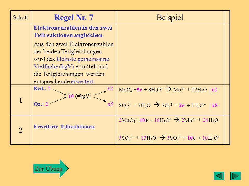 Regel6 Schritt Regel Nr. 6Beispiel Atombilanz ausgleichen Die Anzahl der Sauerstoff- oder Wasserstoff-Atome auf der linken Seite mit der auf der recht