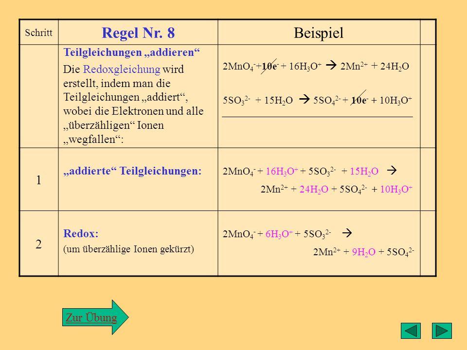 Regel7 Schritt Regel Nr. 7Beispiel Elektronenzahlen in den zwei Teilreaktionen angleichen. Aus den zwei Elektronenzahlen der beiden Teilgleichungen wi