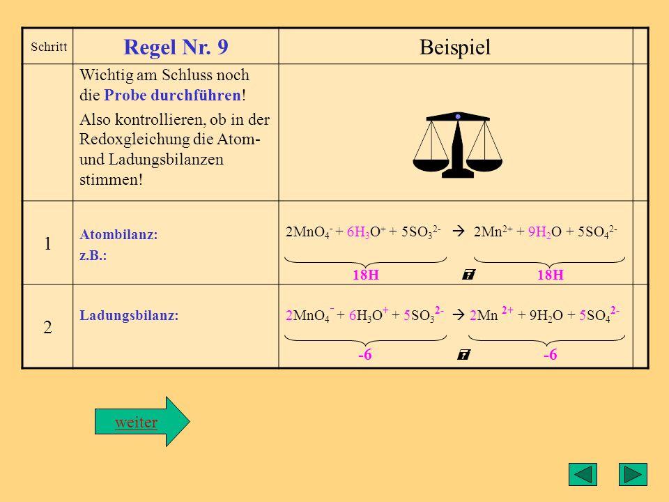 Regel8 Schritt Regel Nr. 8Beispiel Teilgleichungen addieren Die Redoxgleichung wird erstellt, indem man die Teilgleichungen addiert, wobei die Elektro