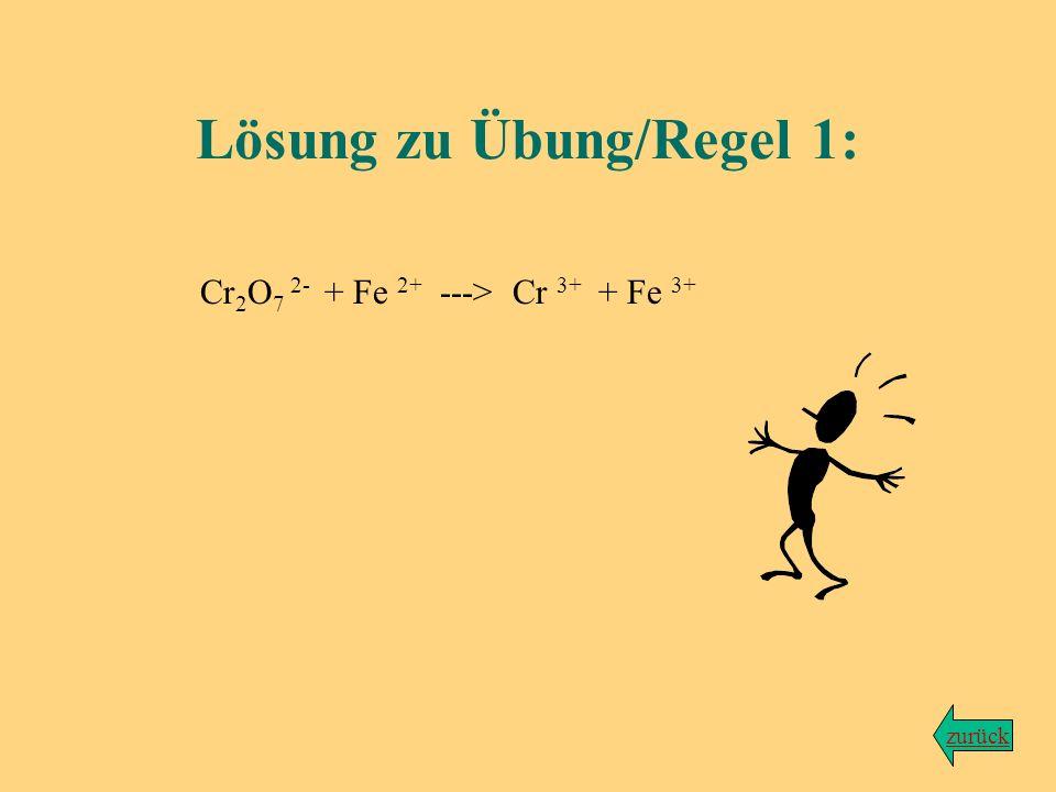 Übung zu Regel Nr. 1 Kaliumdichromat (Ion: Cr 2 O 7 2- ) wird durch Eisen-(II)-chlorid (FeCl 2 ) zu grünen Chrom-(III)-Ionen (Cr 3+ ) reduziert. Als z