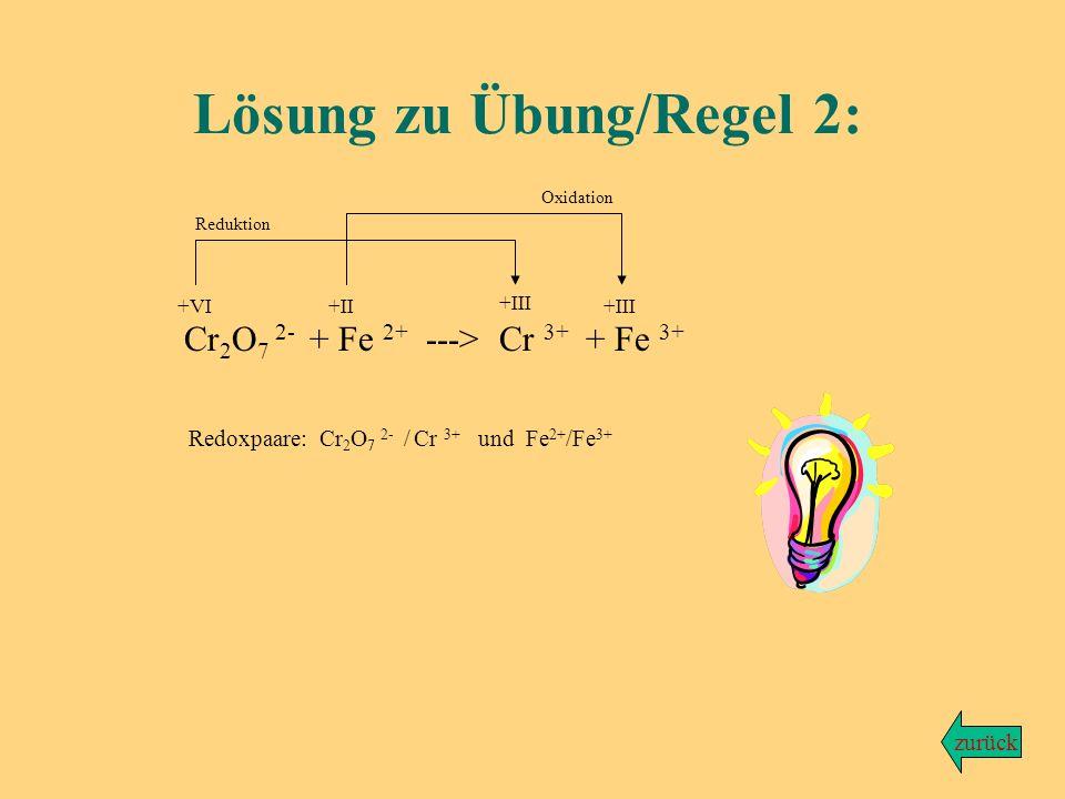 Aus Dichromationen (Cr 2 O 7 2- ) und Eisen-(II)-ionen bilden sich grüne Chrom-(III)-Ionen und Eisen-(III)-Ionen. Aufgabe: Formuliere die unvollständi