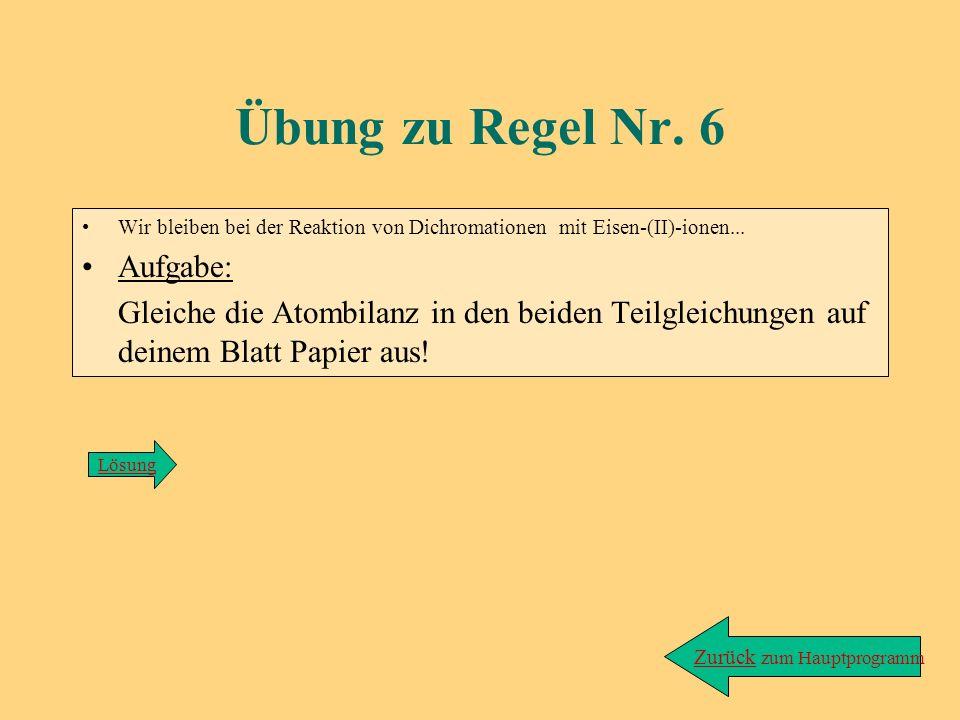 Lösung zu Übung/Regel 5/2: Red.: MnO 4 - + e - ---> MnO 4 2 - (kein Ladungsausgleich nötig!) Ox.: SO 3 2 - + 2OH - ---> SO 4 2 - + 2e - 4-= 4- Wenn´s