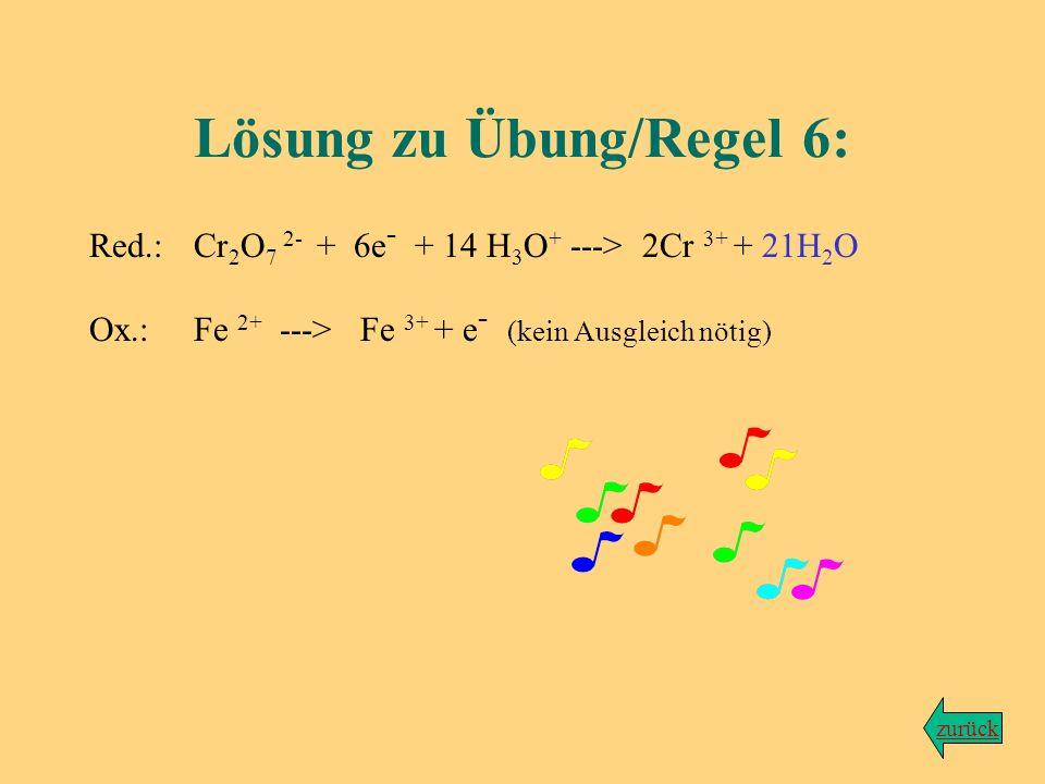 Übung zu Regel Nr. 6 Wir bleiben bei der Reaktion von Dichromationen mit Eisen-(II)-ionen... Aufgabe: Gleiche die Atombilanz in den beiden Teilgleichu