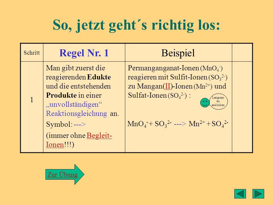Grundsätzliches zu den Redoxgleichungen: Bei der Erstellung einer Redoxgleichung arbeitet man ausschließlich mit den reagierenden Teilchen, d. h. Begl