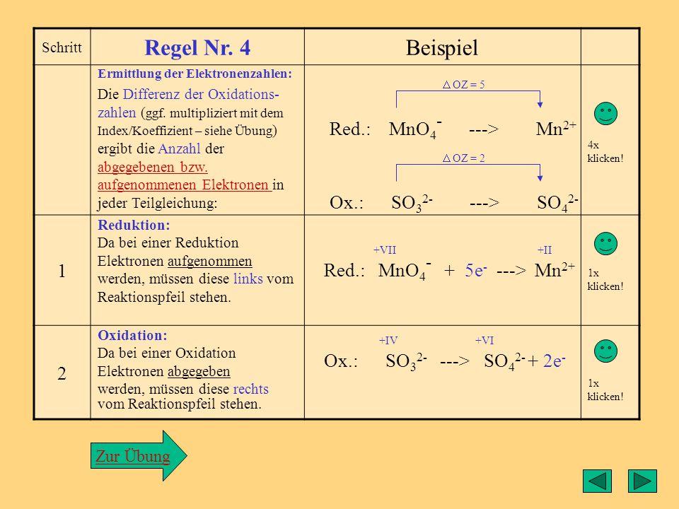 Regel3 Schritt Regel Nr. 3Beispiel Man zerlegt nun die Re- aktionsgleichung in zwei Teilgleichungen, die separat bearbeitet werden und ganz am Ende zu