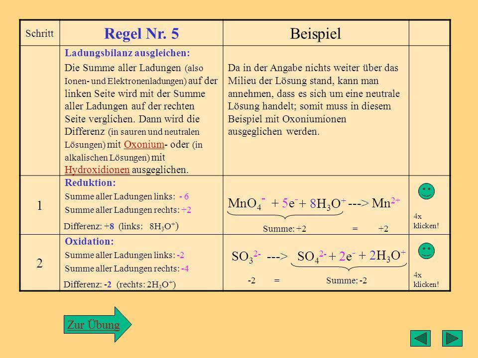 Regel4 Schritt Regel Nr. 4Beispiel Ermittlung der Elektronenzahlen: Die Differenz der Oxidations- zahlen ( ggf. multipliziert mit dem Index/Koeffizien