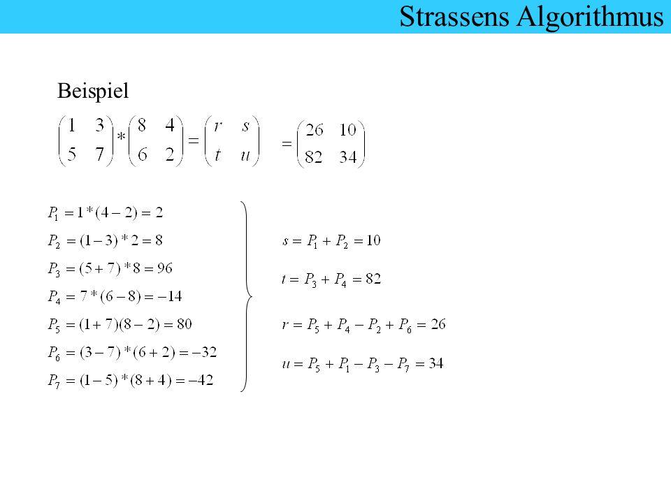 Strassens Algorithmus Beispiel