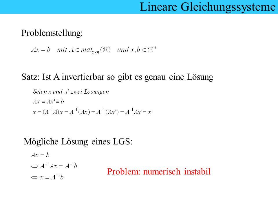 Lineare Gleichungssysteme Problemstellung: Satz: Ist A invertierbar so gibt es genau eine Lösung Mögliche Lösung eines LGS: Problem: numerisch instabi