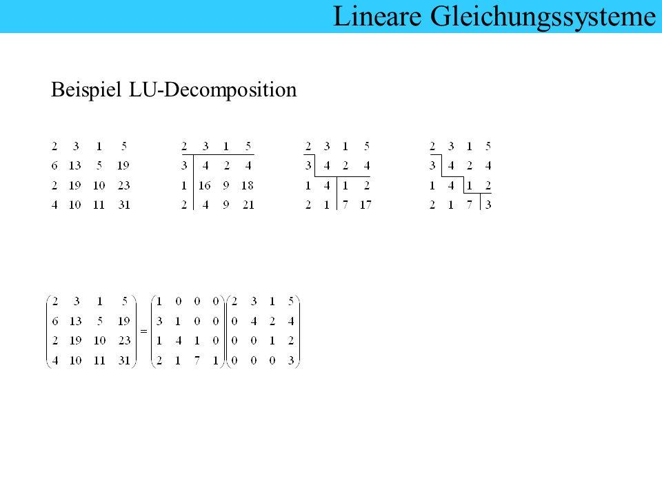 Lineare Gleichungssysteme Beispiel LU-Decomposition