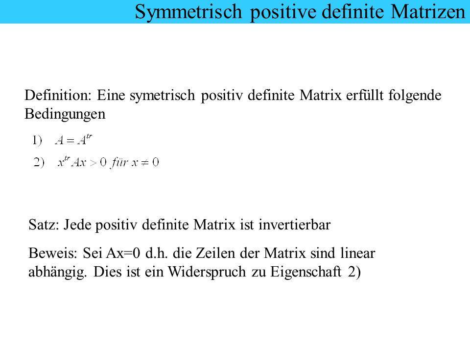 Symmetrisch positive definite Matrizen Definition: Eine symetrisch positiv definite Matrix erfüllt folgende Bedingungen Satz: Jede positiv definite Ma