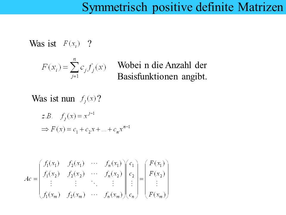 Symmetrisch positive definite Matrizen Was ist ? Wobei n die Anzahl der Basisfunktionen angibt. Was ist nun ?