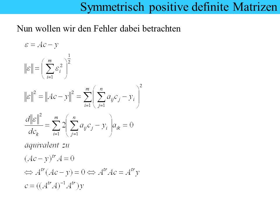 Symmetrisch positive definite Matrizen Nun wollen wir den Fehler dabei betrachten