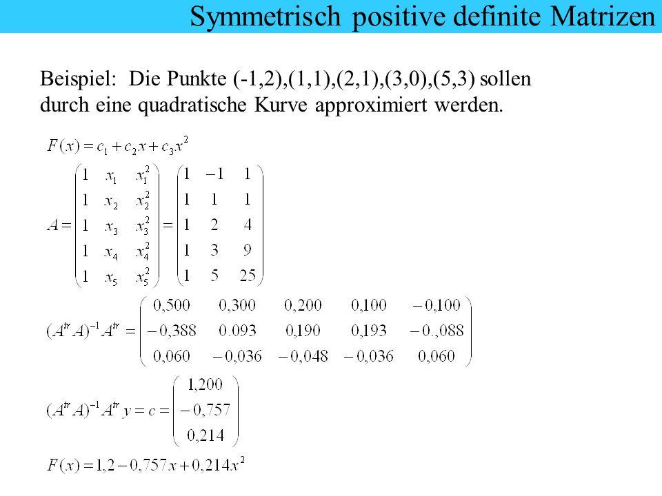 Symmetrisch positive definite Matrizen Beispiel: Die Punkte (-1,2),(1,1),(2,1),(3,0),(5,3) sollen durch eine quadratische Kurve approximiert werden.