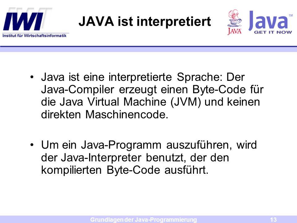 Grundlagen der Java-Programmierung13 JAVA ist interpretiert Java ist eine interpretierte Sprache: Der Java-Compiler erzeugt einen Byte-Code für die Ja