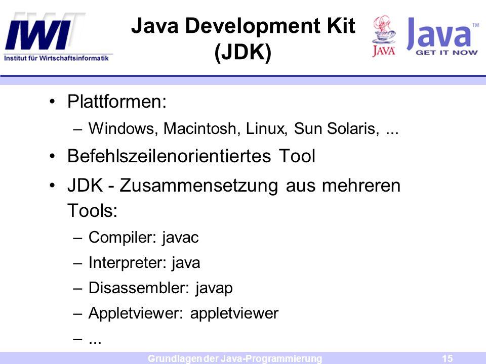 Grundlagen der Java-Programmierung15 Java Development Kit (JDK) Plattformen: –Windows, Macintosh, Linux, Sun Solaris,... Befehlszeilenorientiertes Too