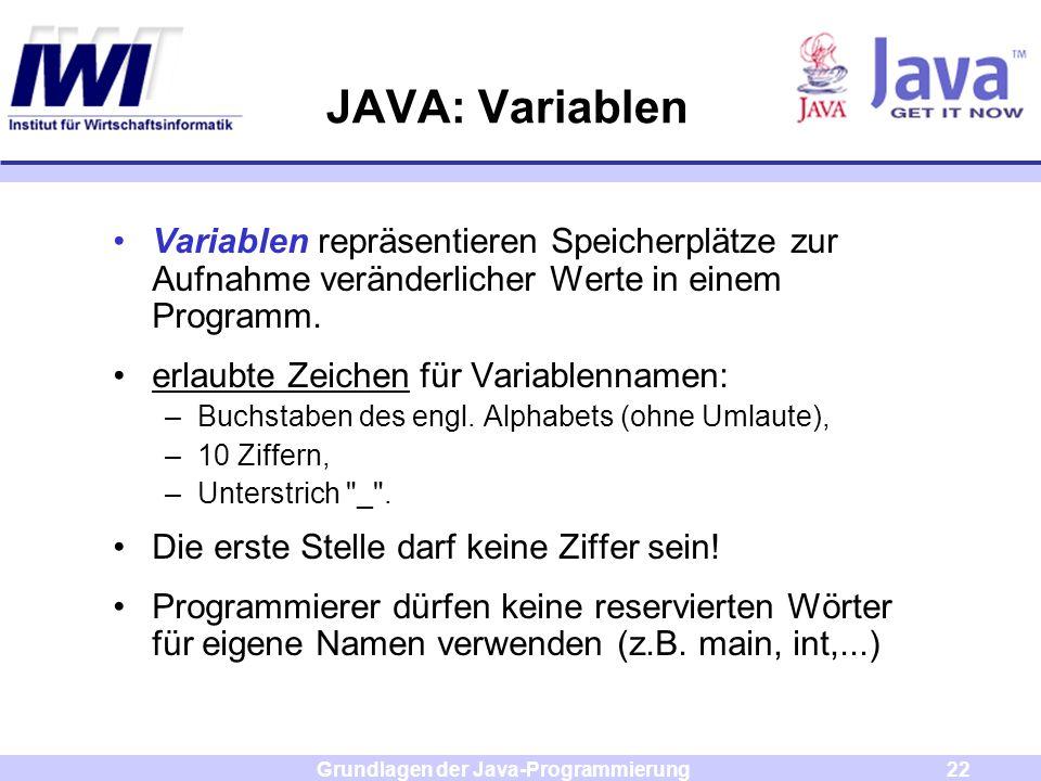Grundlagen der Java-Programmierung22 JAVA: Variablen Variablen repräsentieren Speicherplätze zur Aufnahme veränderlicher Werte in einem Programm. erla