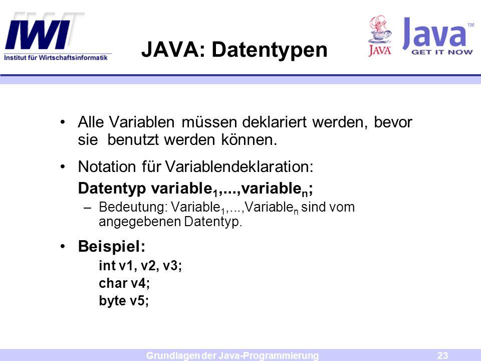 Grundlagen der Java-Programmierung23 JAVA: Datentypen Alle Variablen müssen deklariert werden, bevor sie benutzt werden können. Notation für Variablen