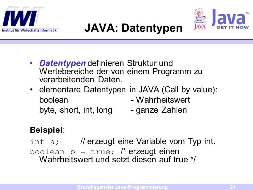 Grundlagen der Java-Programmierung24 JAVA: Datentypen Datentypen definieren Struktur und Wertebereiche der von einem Programm zu verarbeitenden Daten.